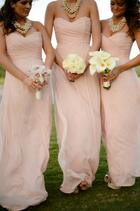 Elegant Sweetheart Floor Length Pearl Pink Bridesmaid Dresses, Bridesmaid Dresses, Wedding Party dresses