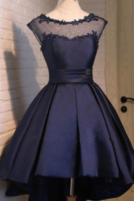 Short Ball Gown Navy Blue Homecoming Dress Satin Homecoming Dress Sweet 16 Birthday Party Gowns