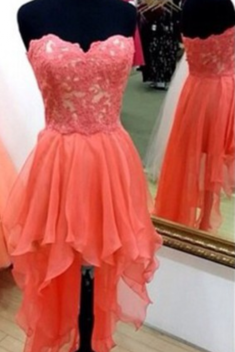 Cute Handmade High Low Coral Prom Dresses With Lace Applique, Homecoming Dresses, Party Dresses, Formal Dresses