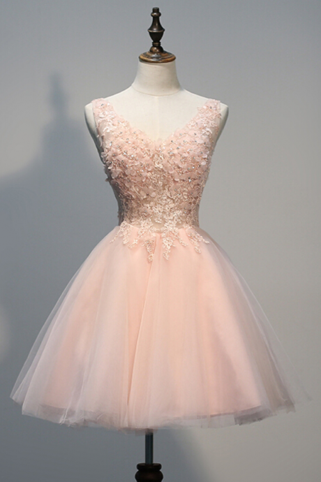 Sweetheart Cute Pink Homecoming Dresses,V-Neck Homecoming Dresses,Organza Homecoming Dresses,Appliques Homecoming Dresses