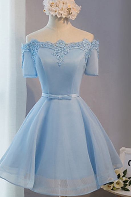 A-line Off-the-shoulder Satin Homecoming Dress,Organza ShortMini Sashes Ribbons Prom Dresses