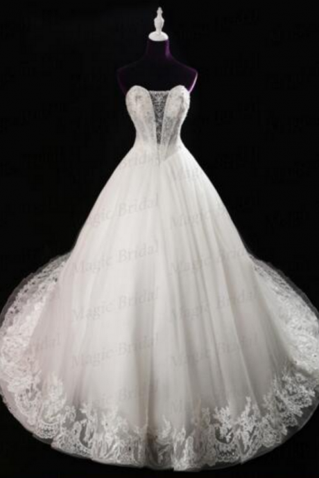Magic Bridal Luxury Cathedral Train Ivory Lace Wedding Dresses Lace Up Ball Gown Wedding Dresses