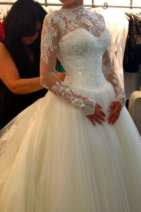Sheer Long-Sleeved Lace Appliqués Ballgown Wedding Dress with Long Train
