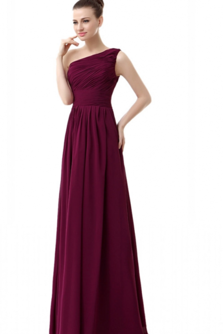 One Shoulder Bridesmaid Dresses Chiffon Dress Long Prom Dress Evening Dress Party Dress