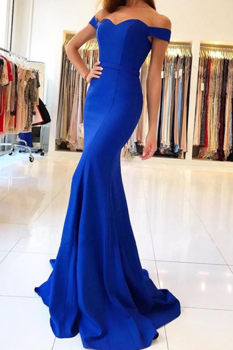 Off Shoulder Mermaid Evening Dresses Long Prom Gowns in Royal Blue Satin