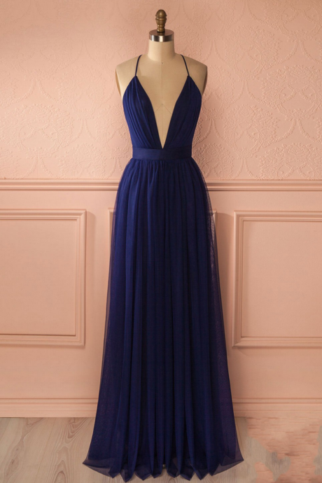 Simple dark blue long prom dress,blue evening dresses
