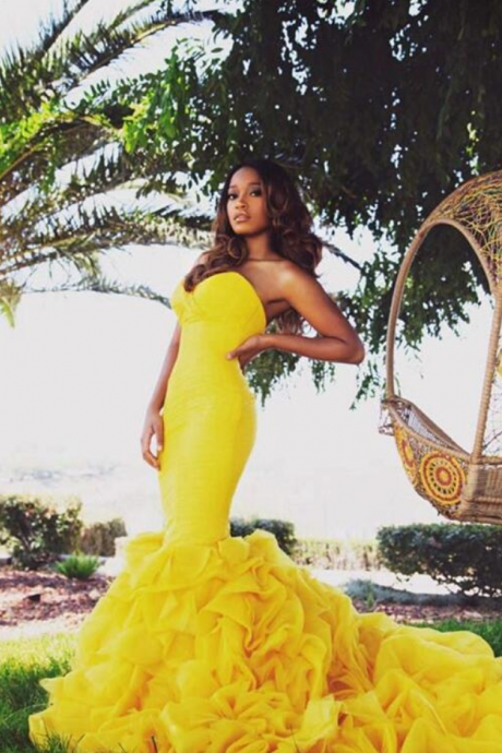 Mermaid Long Prom Dresses,Yellow Prom Dress,Yellow Evening Dress,Party Dresses Graduation Homecoming Dress