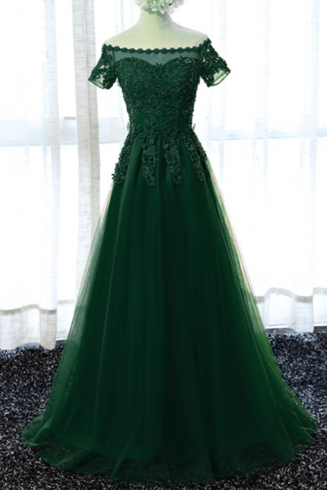 Long Green Prom Dresses Beaded Women Evening Party Dresses for Graduation Dresses vestidos de formatura