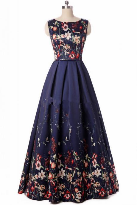 Long Evening Dresses 2017 Elegant Floral Print Fashion Evening Dress Formal Gown Party Dresses Lace-Up Back
