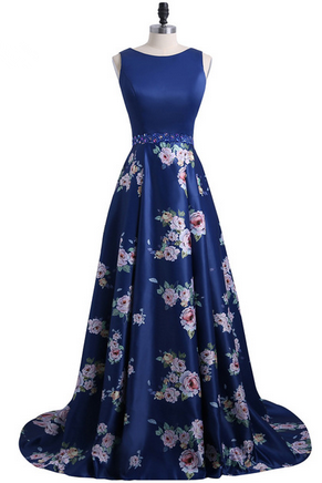 Fashion 3D Floral Flowers Pattern Print Prom Dresses Robe de Soiree Open Back Formal Evening Party Gown Custom Made