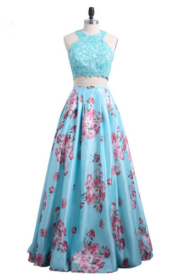 Fashion 3D Floral Print Flower Two Piece Prom Dresses Robe de Soiree Lace Top Floor Length Evening Dress Party Gown