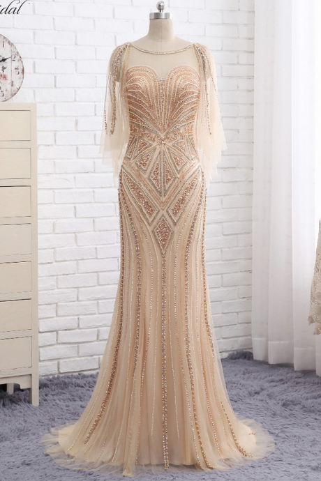 New Long Prom Dresses One Shoulder Single Long Sleeves Floor Length Side Slit Mermaid Beaded Evening Dress