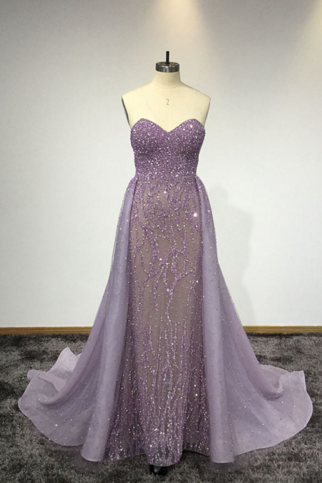 Custom Made Purple Sweetheart Neck Sleeveless Floor Length Prom Dresses