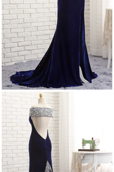 Prom Dresses ,Mermaid V-neck Backless Velvet Crystals Slit Long Prom Gown ,Evening Dresses, Evening Gown