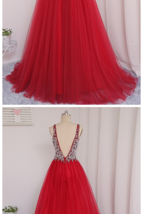 Prom Dresses, A-line Deep V-neck Tulle Beaded Crystals Long Backless Prom Gown ,Evening Dresses, Evening Gown