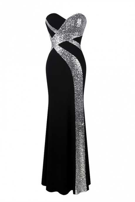 Long Prom Dress Angel-fashions Women's Strapless Criss-Cross Classic Mermaid Party Gown Black White