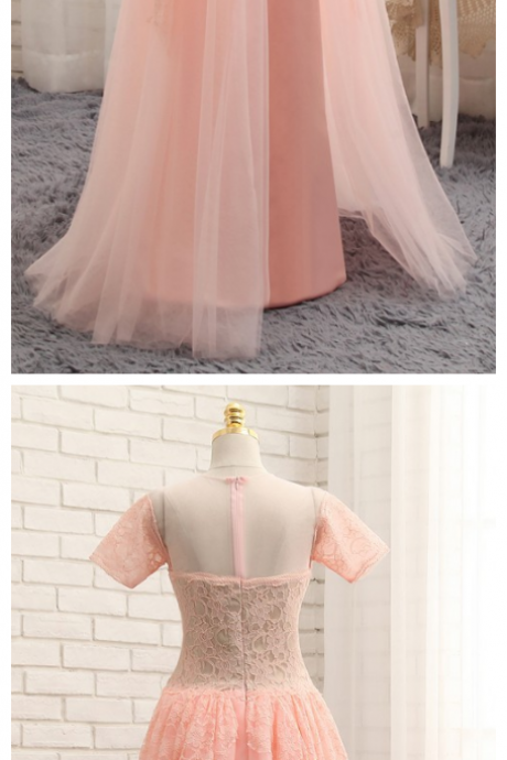 Prom Dresses, A-line Cap Sleeves Chiffon Lace Pink Long Prom Gown, Evening Dresses, Evening Gown