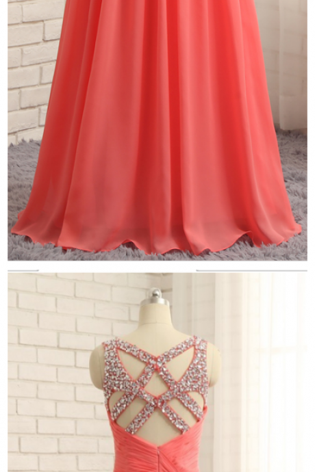 Prom Dresses, A-line Sweetheart Sexy Chiffon Beaded Long Prom Gown ,Evening Dresses, Evening Gown