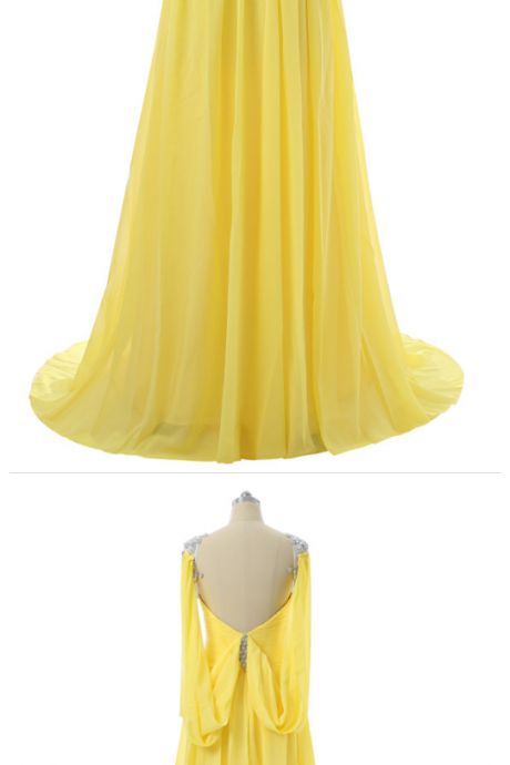 Prom Dresses ,A-line Cap Sleeves Chiffon Crystals Open Back Women Long Prom Gown ,Evening Dresses Robe De Soiree
