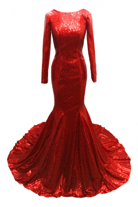Long Mermaid Red Sequins Fabric Evening Dresses Charming Vestido De Festa Backless Long Sleeves Party Gowns
