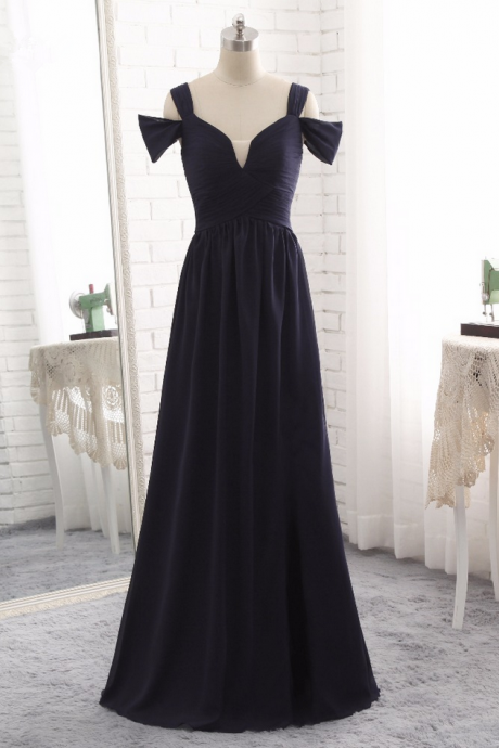 Luxury Long A-line Evening Dresses Sexy Navy Blue Chiffon Pleats Vestido De Hot Prom Party Gown