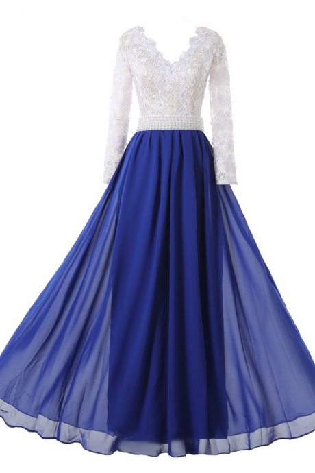 Hot Charming Long A-line Royal Blue Chiffon White Lace Top Evening Dresses Long Sleeves Prom Party Gown