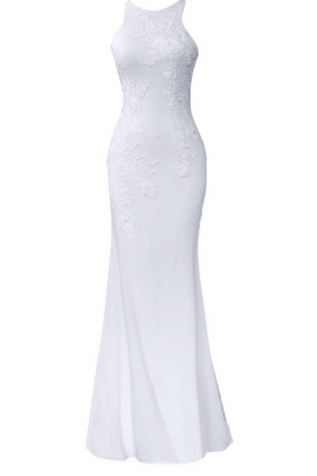 Long Mermaid White Spandex Appliques Evening Dresses Prom Party Gown