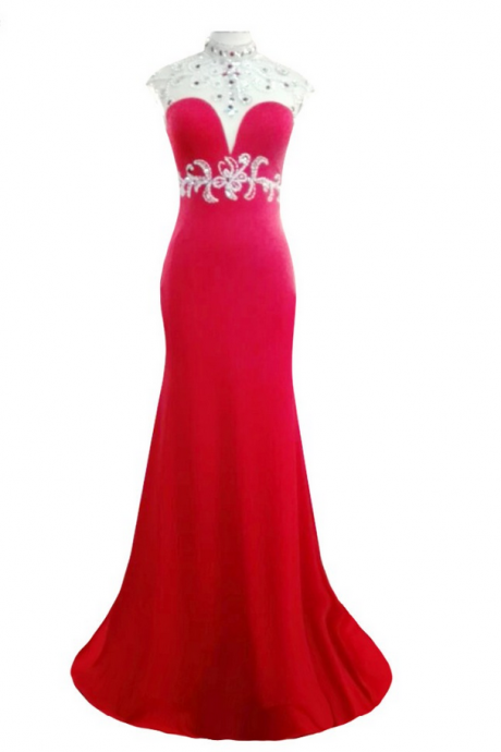 Luxury Red Spandex Beaded Mermaid Evening Dress Charming Vestido De Festa High Neck Backless Long Prom Gown