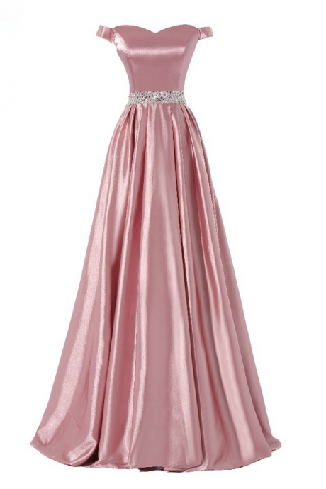 Long A-line Flesh Pink Stretch Satin Beaded Waist Evening Dresses Sexy Real Made Cheap Prom Party Gown