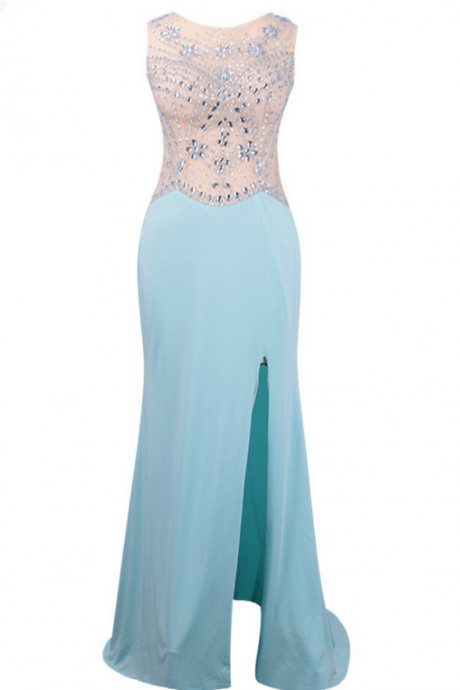 Long Mermaid Light Blue Spandex Evening Dresses Champagne Tulle Top Beaded Prom Party Gown