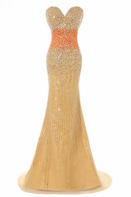 Luxury Long Mermaid Evening Dresses Sexy Gold Tulle Beaded Strapless Prom Party Gown
