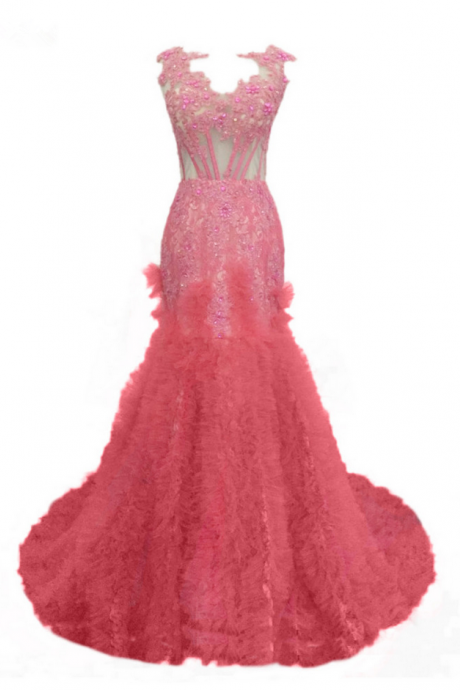 Long Pink Tulle Appliques Beaded Prom Dresses Elegant Mermaid Luxury Backless Party Gown