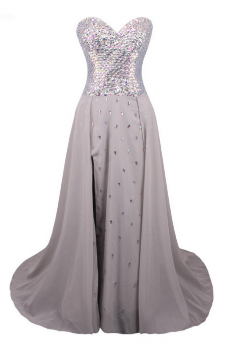 Gray Chiffon Crystals Beaded Prom Dress Luxury A-line Split Front Hot Party Evening Gown