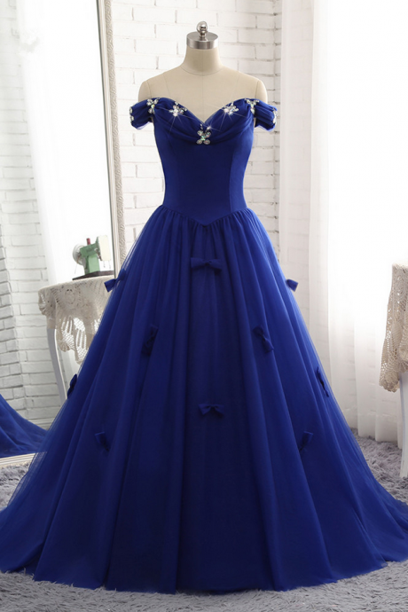 Royal Blue Prom Dress Luxury Tulle Beaded Bow Gown Prom Party Gown