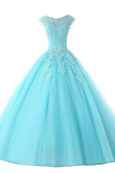 Hot Sale Sexy Blue Prom Dresses Ball Gowns Long Blue Tulle Appliques Beaded Cap Sleeves Sweet 16 Dress