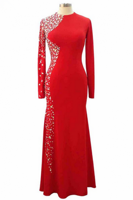 Red Spandex Beaded Prom Dresses Elegant Luxury Long Sleeves Mermaid Prom Party Gown