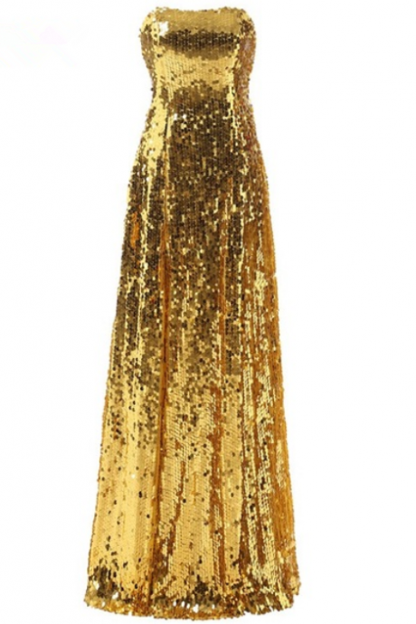formal gold sequin strapless elegant floor length long party mother of the bride dresses evening dress