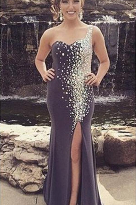Glittering One Shoulder Prom Dress,Mermaid Party Dress,Side Slit Prom Dresses