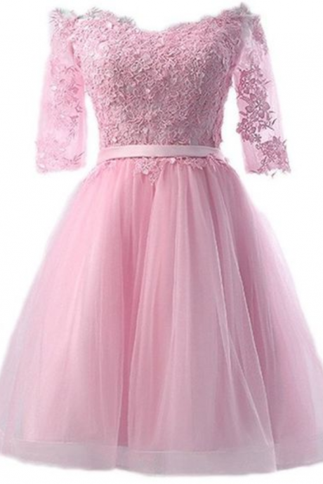 Blush Pink Homecoming Dresses,Short Prom Dresses,Long Sleeve Graduation Dress