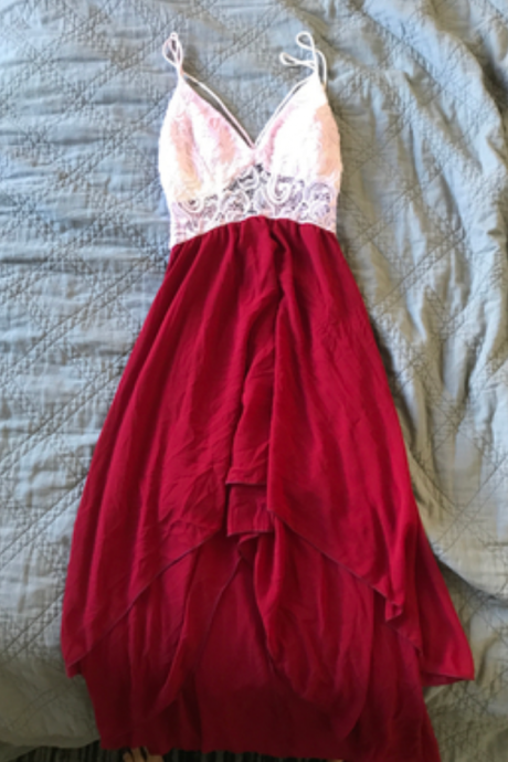 White Lace Top Straps Prom Dress with Wine Red Chiffon High Low Skirt, High Low Party Dresses, Homecoming Dresses