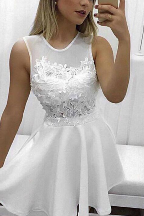 Simple White Mini Lace Round Neckline Graduation Dresses, White Short Prom Dresses, Homecoming Dresses for Sale