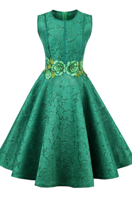short homecoming dress green o neck sleeveless knee length a line gown new floral embroidery cocktail homecoming dresses