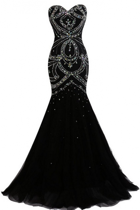 Engagement Dresses Noche Long Party Dress Elegant Black Mermaid Evening Dresses with Rhinestones