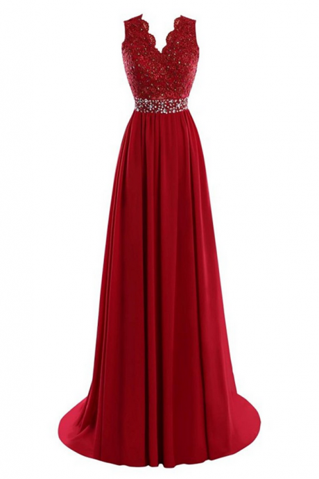 Plus Size Women Formal Dress Cheap Burgundy Chiffon Long Evening Prom Dresses