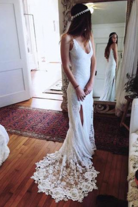Romantic Boho Backless Lace Mermaid Elegant White Wedding Dress