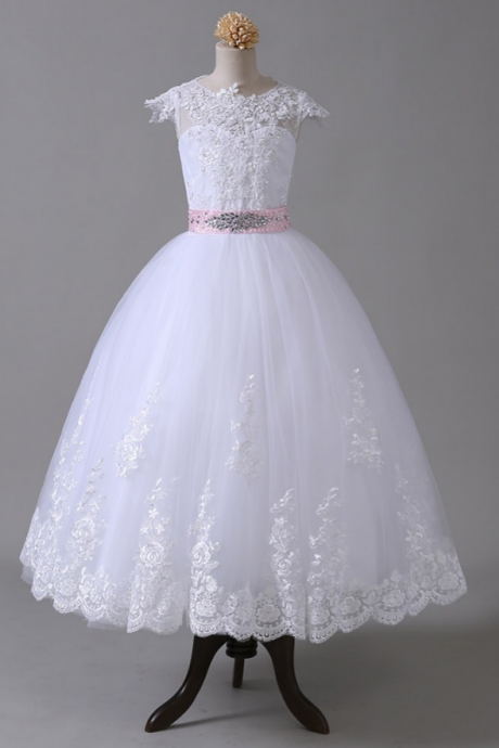 Flower Girl Dresses ,For Weddings Ball Gown ,Cap Sleeves Tulle Appliques Lace Crystals First Communion Dresses