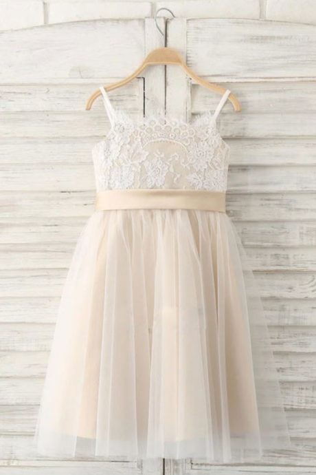 Flower Girl Dresses Straps Flower Girl Dresses,Long Flower Girl Dress with Ribbon,Tulle Flower Girl Dress,Lace Flower Girl Dresses,girls first communion dress, junior bridesmaid dresses
