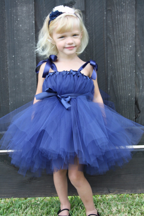 Flower Girl Dresses Navy Blue Flower Girl Dresses, Cute Flower Girl Dresses, Kids Prom Dress, Cheap Flower Girl Dress, First Communion Dresses, 2017 Flower Girl Dresses