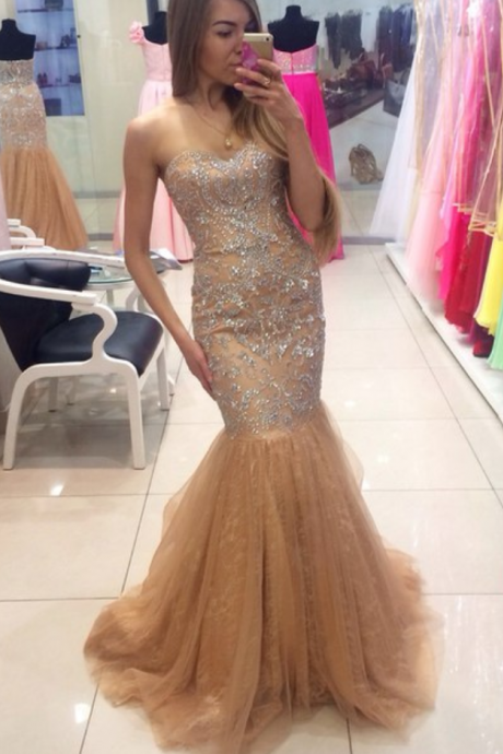Custom Cheap Beaded Sweetheart Long Tulle Champagne Mermaid Prom Dresses Gowns Formal Evening Dresses Gowns, Homecoming Graduation Cocktail Party Dresses, Holiday Dresses, Plus size