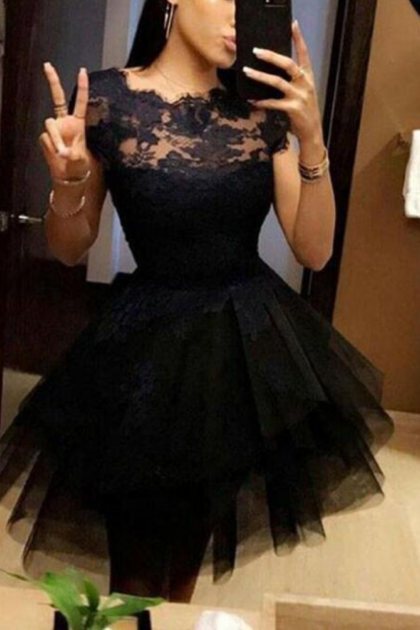 Black lace and Tulle Homecoming Dresses, Homecoming Dresses for Teens, Short Prom Dresses